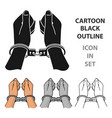 hands in handcuffs icon in cartoon style isolated vector image vector image