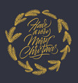 have a very merry christmas card with lettering vector image vector image