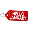 Hello january label or price tag