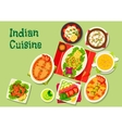 Indian cuisine lunch dishes icon for menu dessign vector image vector image