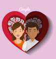 lovers couple in heart avatars characters vector image vector image