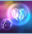 low poly crystal heart and love vector image