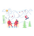 male and female skiers on a lounger relaxes vector image vector image