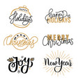 merry christmas and happy new year inscription vector image vector image