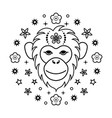 monkey chinese zodiac sign vector image vector image