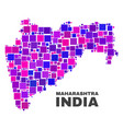 mosaic maharashtra state map of square elements vector image vector image