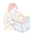 mother doing homework with son reading alphabet vector image