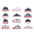 mountain emblems set vintage hand drawn adventure vector image