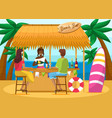 outdoor bar with drinks summer vacation at beach vector image