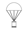 parachute with cargo the black color icon vector image vector image