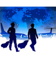 Pilots with Luggage in an Airport vector image