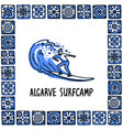 portugal landmarks set algarve surfcamp surfer vector image