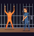 prisoners on inspection near camera vector image vector image