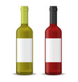 realistic detailed 3d wine bottles set vector image
