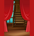 room with red curtains vector image vector image