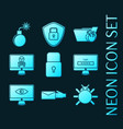 set hacking protection glowing neon icons vector image
