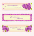 set of floral banner templates with lilac flower vector image vector image