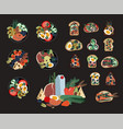 set sandwiches and poke bowls healthy food vector image vector image