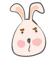 the face a big eared grumpy cartoon hare color vector image vector image