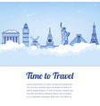 travel composition with famous world landmarks vector image vector image