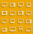 tv icons set television set symbols white flat vector image vector image