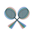 two tennis racket sign colorful icon vector image vector image