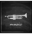 vintage with the trumpet on blackboard background vector image vector image