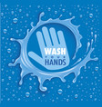 wash your hands-blue background with water drops vector image