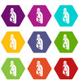 washing conditioner icons set 9 vector image vector image