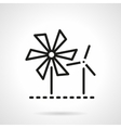 Wind turbine and mill black line icon vector image vector image