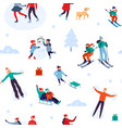 winter holiday activities seamless pattern happy vector image vector image
