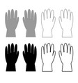 working gloves icon outline set grey black color vector image
