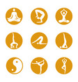yoga icons on round background vector image vector image