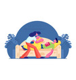 young woman covering with blanket and care man vector image vector image