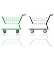 green and black shopping cart vector image