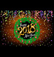 2018 happy new year card with christmas color vector image