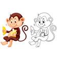 animal outline for monkey eat banana