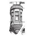 bay window in w k vanderbilts house largest vector image vector image