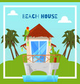beach house on island in tropics bungalow vector image vector image