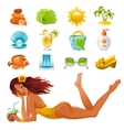 Beach sea summer concept design travel symbols vector image