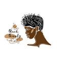 black afro man s face portrait african man vector image