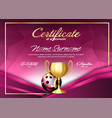bowling game certificate diploma with golden cup vector image vector image
