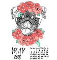 calendar with dry brush lettering may 2018 dog vector image vector image