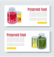 cartoon canned preserved and jar food banner vector image vector image