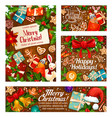 christmas gifts greeting card on wooden background vector image vector image