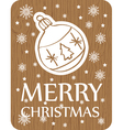 christmas greeting card on wood background vector image vector image