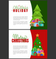 christmas holidays greeting cards fir trees vector image vector image