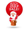 christmas sale background with santa claus vector image vector image