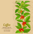 coffee branches pattern on color background vector image