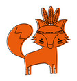color cute fox animal with feathers design vector image vector image